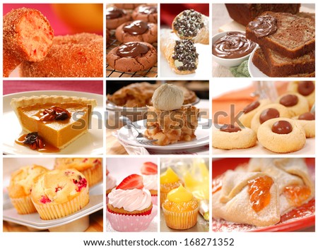 Collage showing a variety of delicious baked goods including cookies, pies, cakes, donuts and muffins