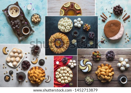 Collage showing Arabian sweets. Arabian cuisine. Ramadan food background.
