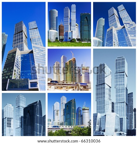 collage skyscrapers Moscow City