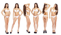 Collage Snap Models. Full length beautiful slim tanned woman in white underwear, isolated on white background