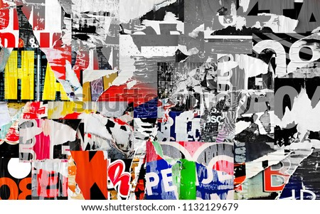 Collage torn ripped posters grunge texture background creased crumpled paper surface backdrop