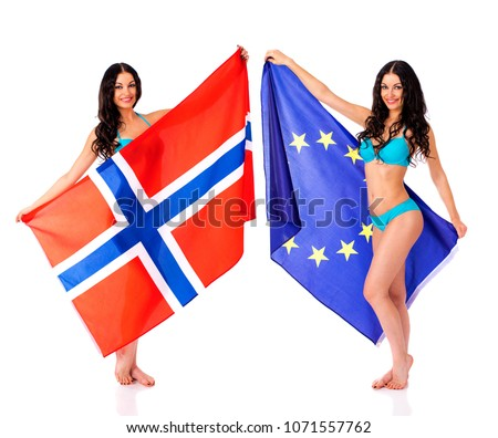 Collage, Two Young beautiful brunette women in blue bikini holding a large transparent flag of Norway and European, isolated on white background