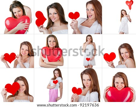 Collage Valentine's Day, isolated over on white background