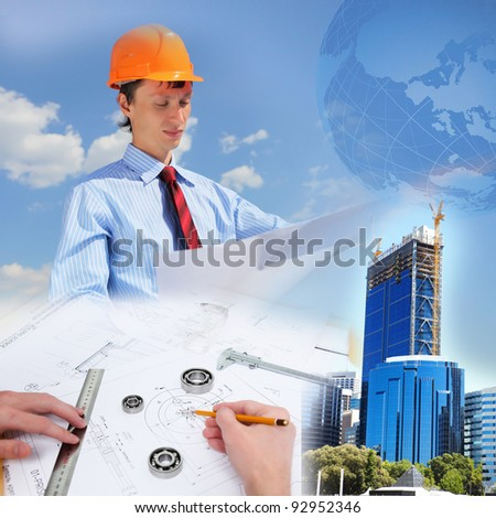Collage with a business person and construction images