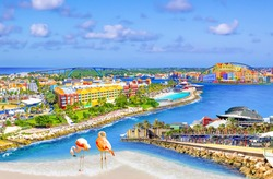 Collage with aerial panorama of Willemstad town in Curacao - The island Curacao is a tropical paradise in the Antilles in the Caribbean sea with beautiful architecture, beaches.