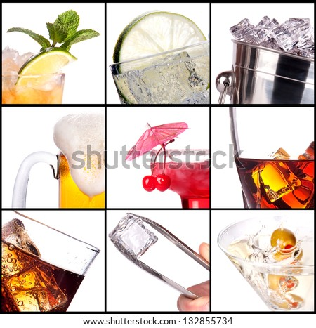 collage with alcohol cocktails - beer, martini, soda,cola,cocktail,wine,whiskey