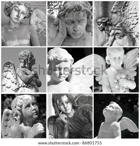collage with antique cemetery angels, Italy