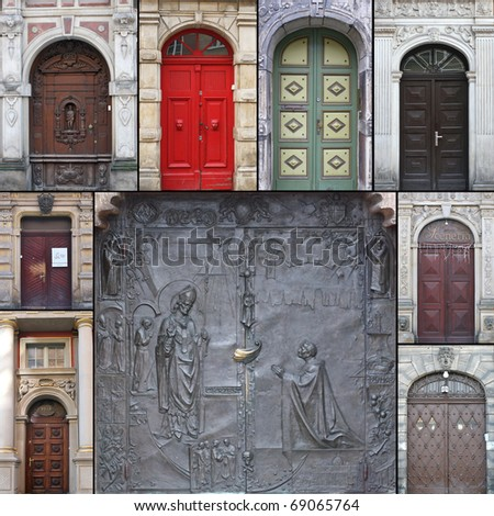 Collage with 10 antique doors form Poland, Gdansk