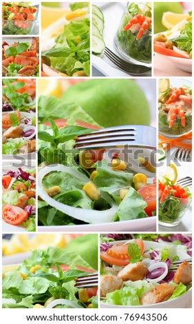collage with assorted green salad on bowl