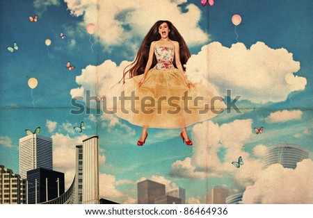 collage with beautiful jumping young woman, dirty texture