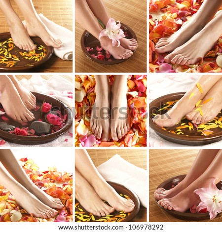 Collage with beautiful legs over spa background