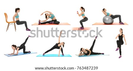 Collage with beautiful young woman doing different exercises on white background #763487239