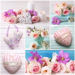 Collage with blush roses, hearts, candles on wooden background.