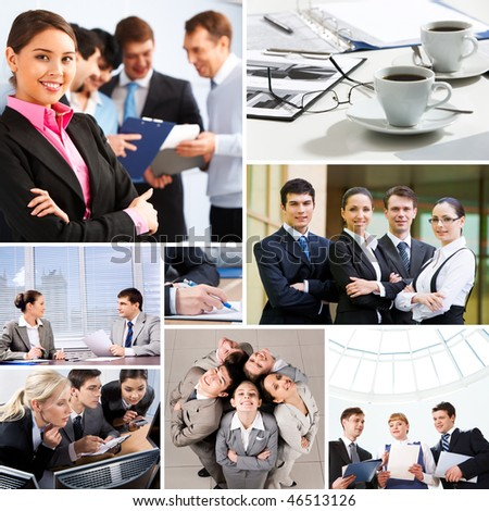 Collage with business teams and objects in different situations