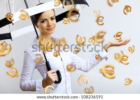 Collage with business woman under money rain with umbrella