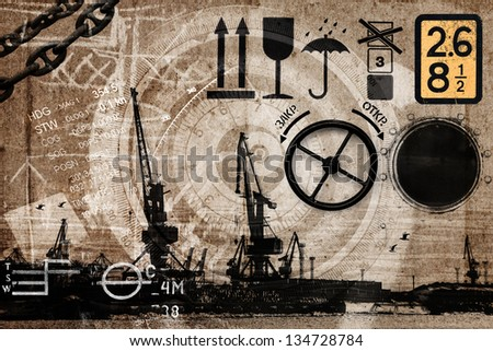 Collage with cargo shipping port elements