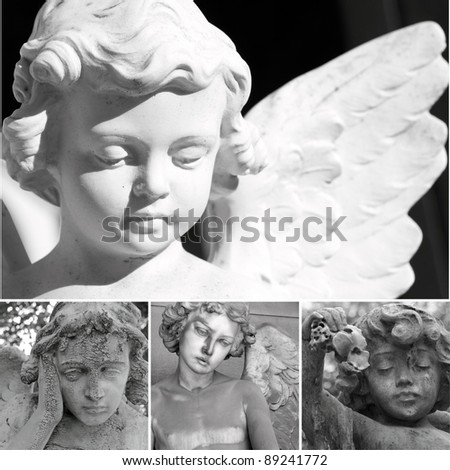 collage with cemetery sculptures of angels