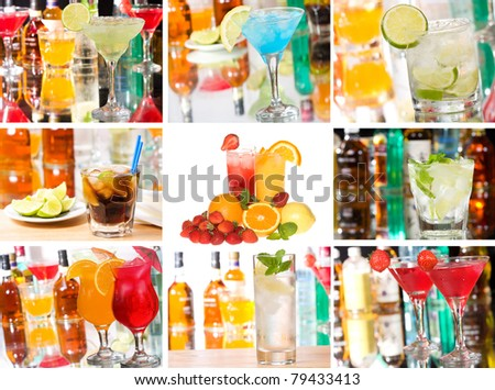 collage with cocktails