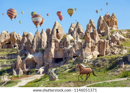 Collage with colorful hot air balloons flying in clear blue sky above unusual rocky landscape in Cappadocia. Horse run near conical mountains in sunny day in Cappadocia, Turkey.