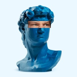 Collage with David's head replica, statue and male portrait isolated on white background. Negative space to insert your text. Modern design. Contemporary colorful and conceptual bright art collage.