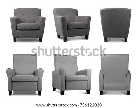 Collage with different armchairs on white background