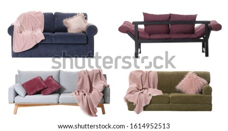 Collage with different comfortable sofas on white background