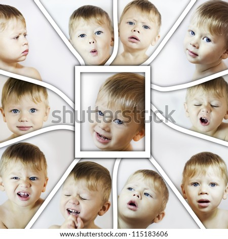 Collage with different facial expressions of little boy