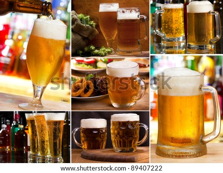 collage with different glasses of beer