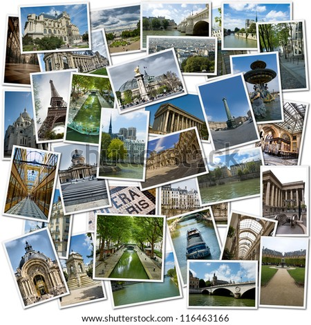 Collage with different images of Paris
