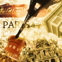 collage with different landmarks of Paris, France, such as the Eiffel Tower or the Arc de Triomphe, with a retro effect