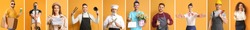 Collage with different people of different professions on orange background