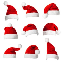 Collage with different shapes of Santa Claus helper hat isolated on white background. Christmas and New Year celebration