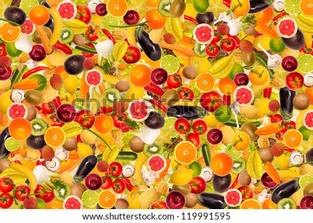 Collage with different types of fruit and vegetables as background, colorful