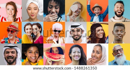 collage with faces and people from all the world. composition with different ethnicities on colored backgrounds