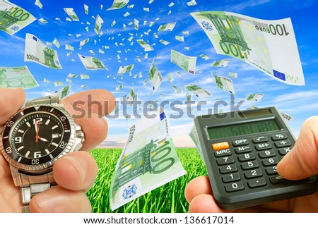Collage with flying money, watches and money in hand against the sky and grass.