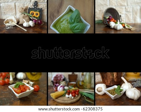 collage with food - stock photo