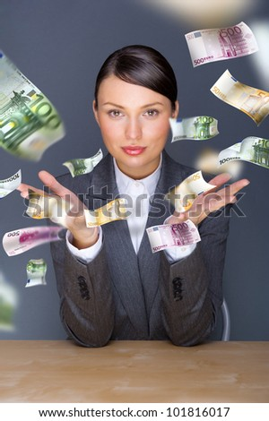 Collage with happy business woman under money rain