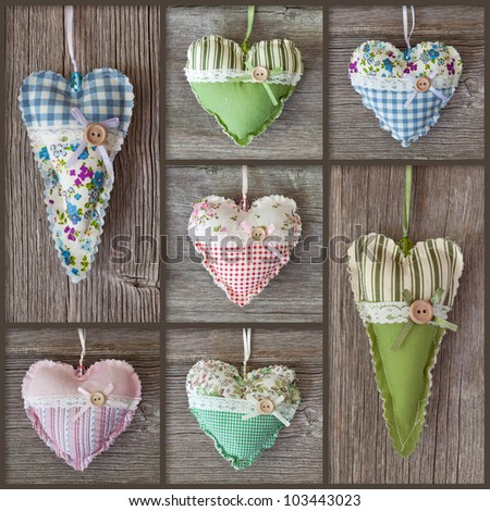 Collage with hearts on wooden background