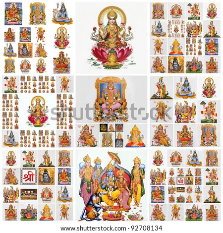 collage with hindu gods as: Lakshmi, Ganesha, Hanuman, Vishnu, Shiva, Parvati, Durga, Buddha, Rama, Krishna - stock photo