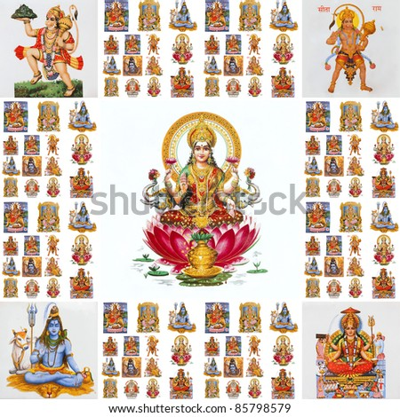 collage with hindu  gods ( Lakshmi, Hanuman,Shiva,Parvati,...)