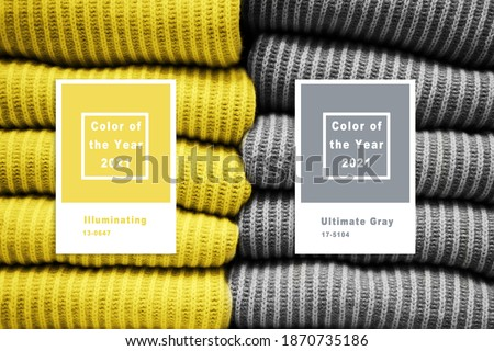 Photo of  Collage with Illuminating and Ultimate gray Pantone color of the year 2021