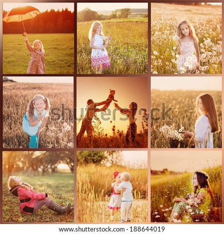 collage with images at sunset - stock photo