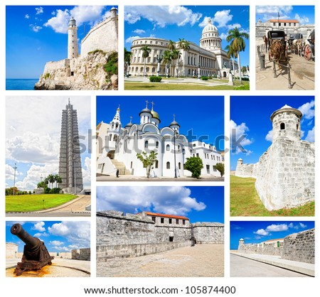 Collage with images of Havana including: the capitol, the revolution square and el morro fortress