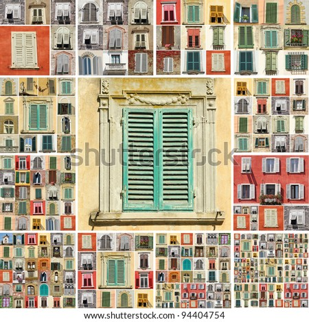 collage with images of retro windows with shutters in Italy
