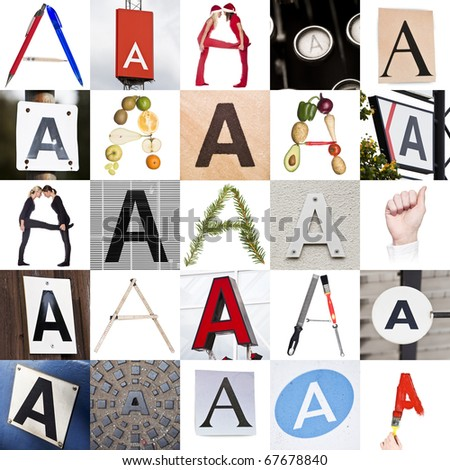 Collage with 25 images with letter A