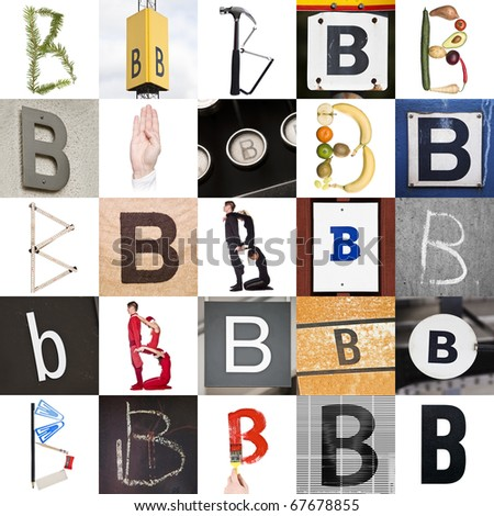 Collage with 25 images with letter B