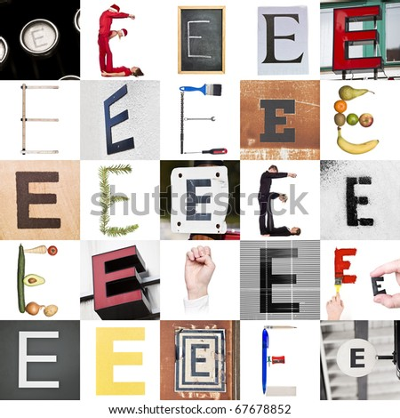Collage with 25 images with letter E
