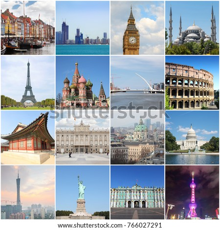 Collage with landmarks of different popular cities - London, Rome, Moscow, New York #766027291
