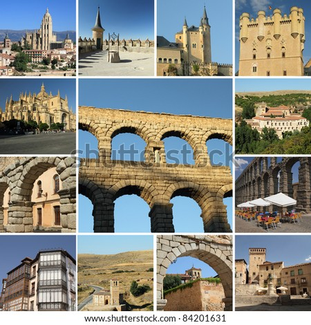 collage with landmarks of Segovia, Spain