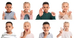 Collage with little children on white background. Concept of speech therapy